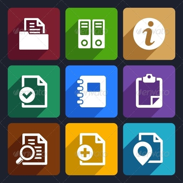 Documents and Folders Flat Icons Set 20