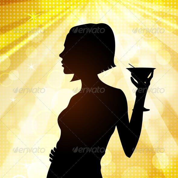 Silhouette of Young Woman at Disco
