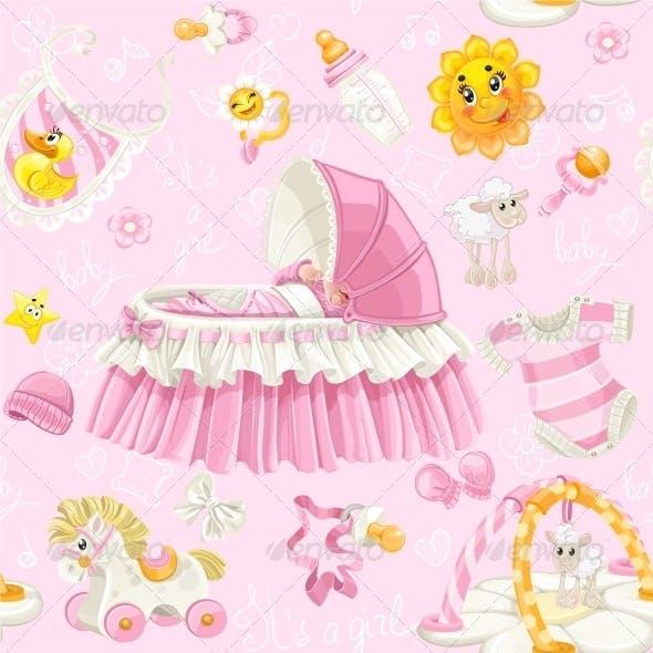 Seamless Pattern of Baby Girl Stuff