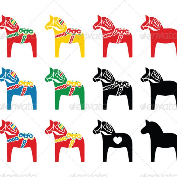 Swedish Dala Horse Vector Icons Set