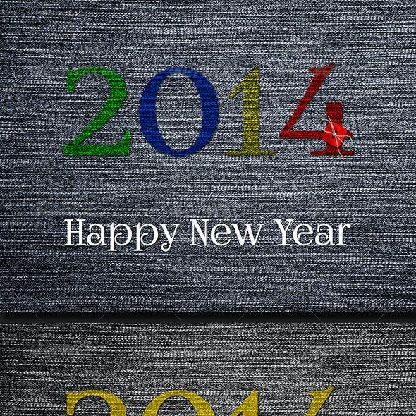Happy 2014 Year on Denim Background