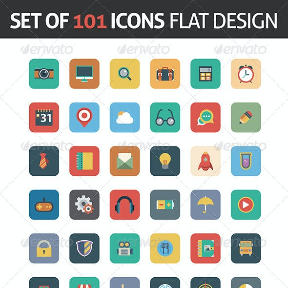 Flat Icons Square in Vector Format