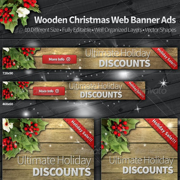 Wooden Christmas Web Banner Ads