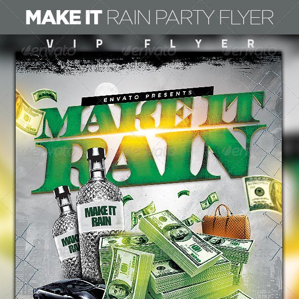 Make It Rain Party Flyer