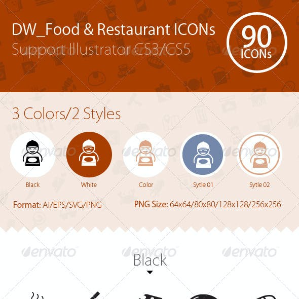 90 Food & Restaurant ICONs