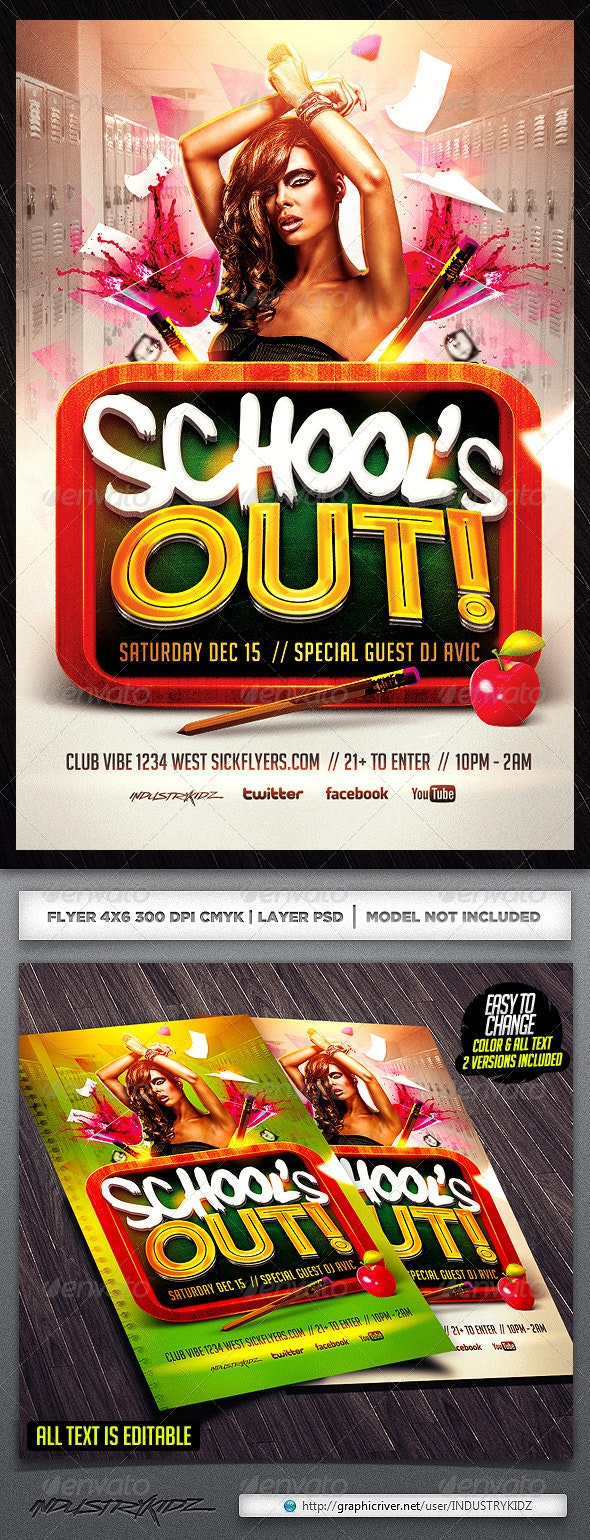 School Flyer Template - Clubs & Parties Events