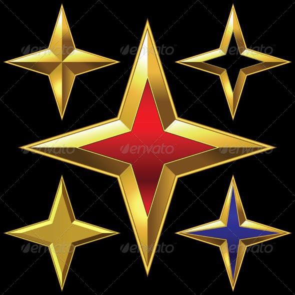 Set of Golden Shiny Four-Point Stars
