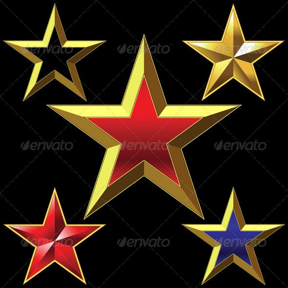 Vector Set of Golden Shiny Five Pointed Stars