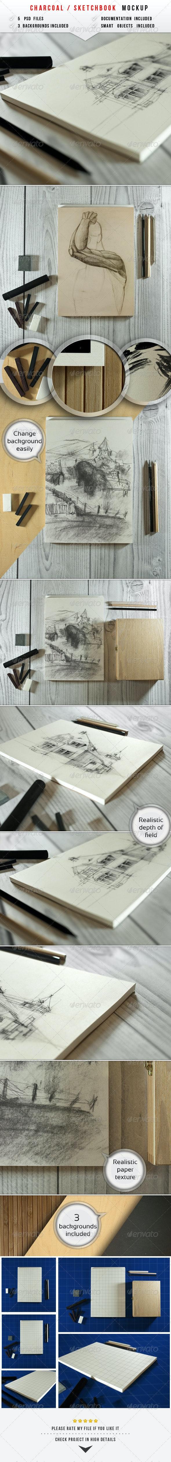 Sketch & Charcoal Mockup - Miscellaneous Product Mock-Ups