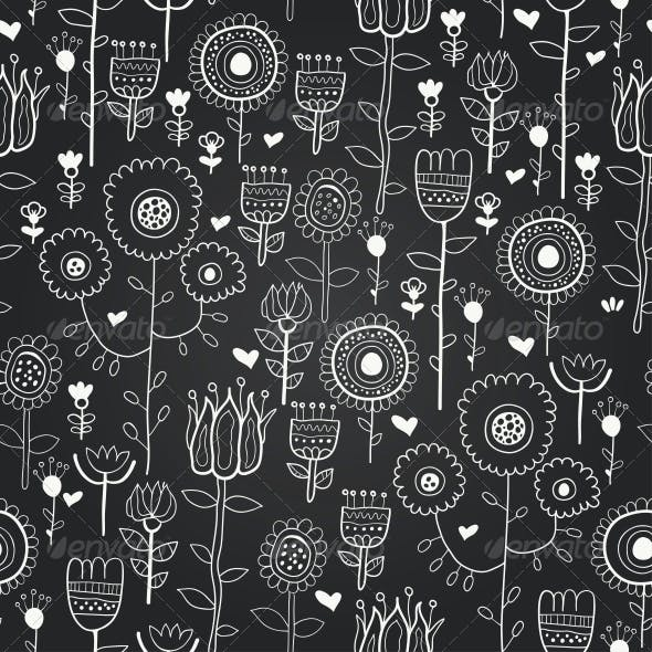 Vector Chalkboard Seamless Floral Pattern