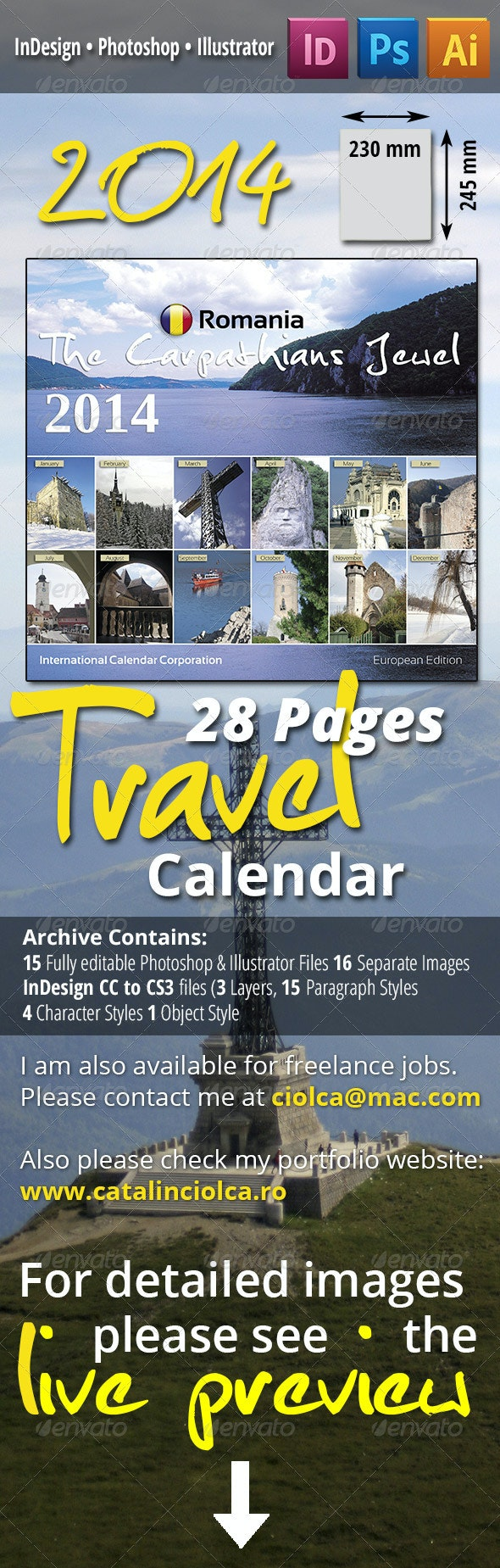 28 Pages 2014 Travel Calendar - Calendars Stationery