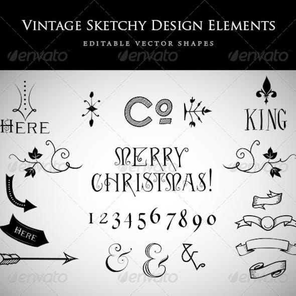 Vintage Sketchy Design Elements