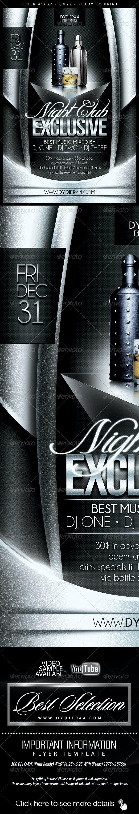Nightclub Exclusive (Flyer Template 4x6) - Flyers Print Templates