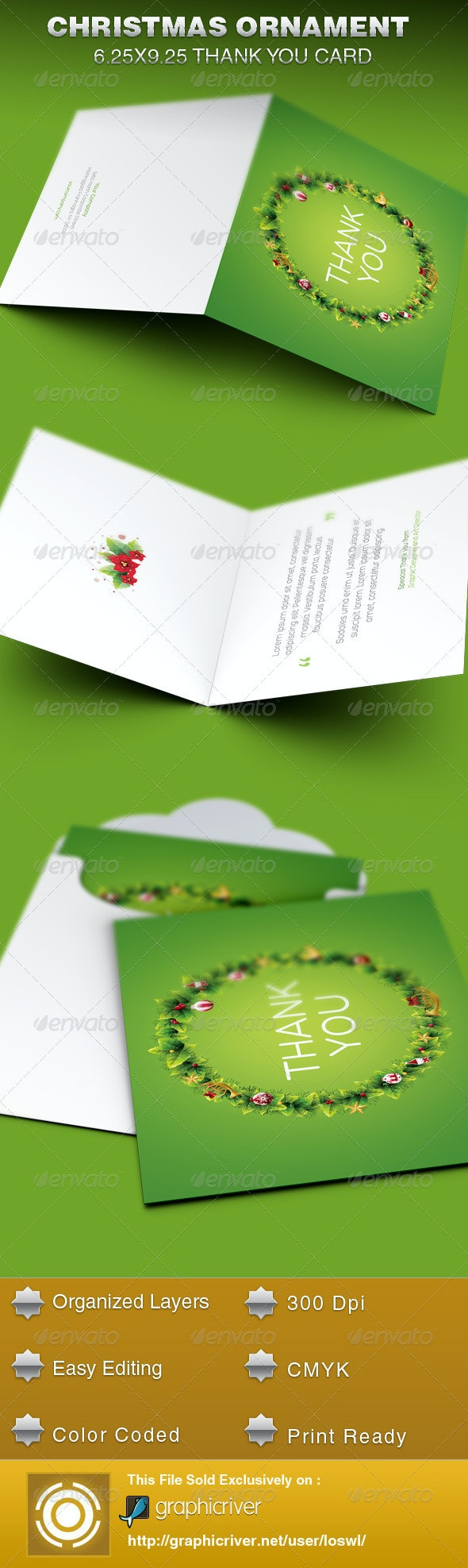 Christmas Ornament Thank You Card Template - Cards & Invites Print Templates