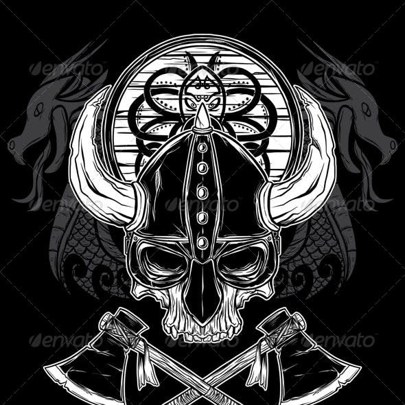 Vector Hand Drawn Viking Skull, Axe, and Shield
