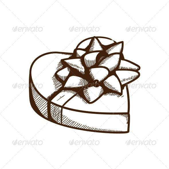 Present Box with Ribbon and Bow