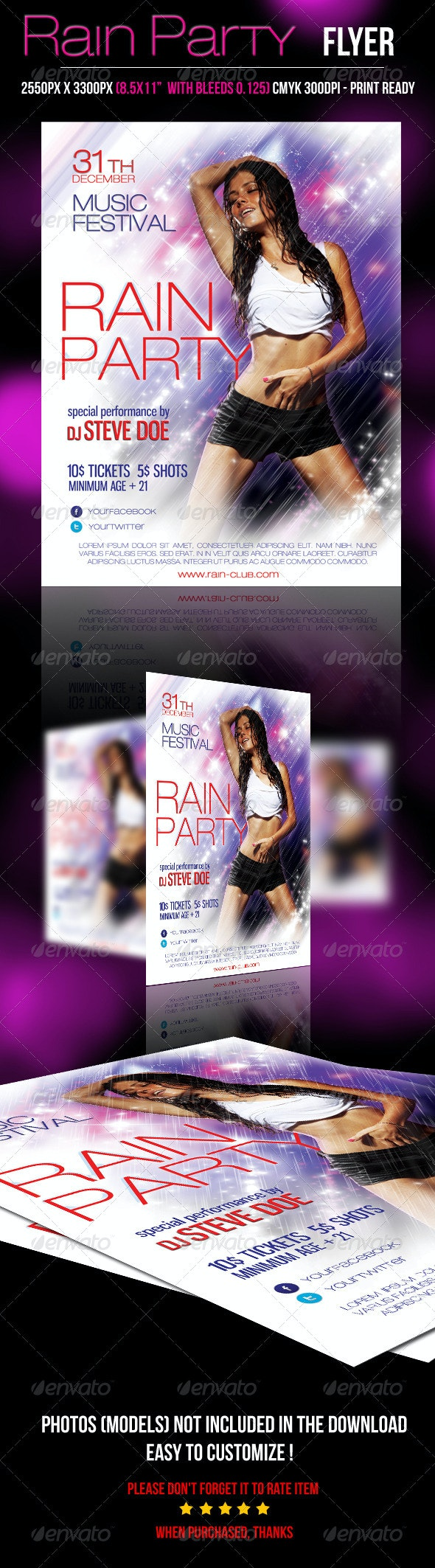Rain Party Flyer - Clubs & Parties Events