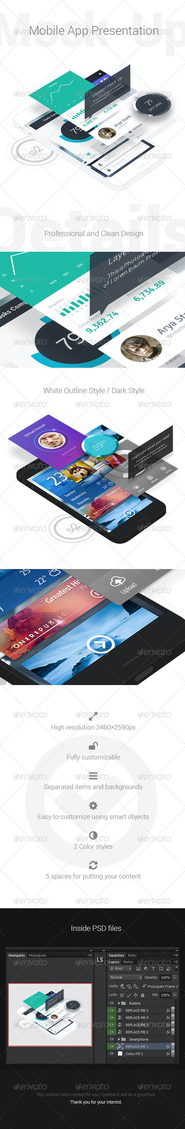 Mobile App Presentation Mock-Up - Mobile Displays