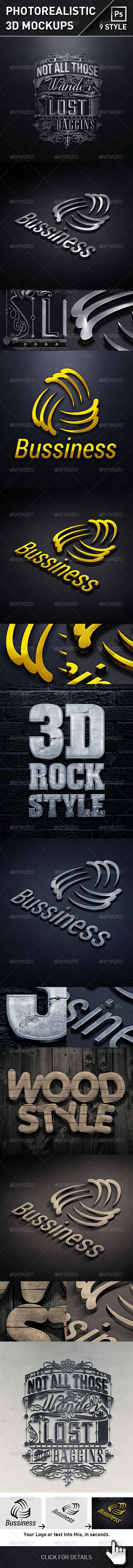 Photorealistic 3D Logo Mockups - Product Mock-Ups Graphics