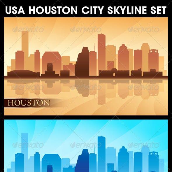 Houston USA City Skyline Silhouettes Set