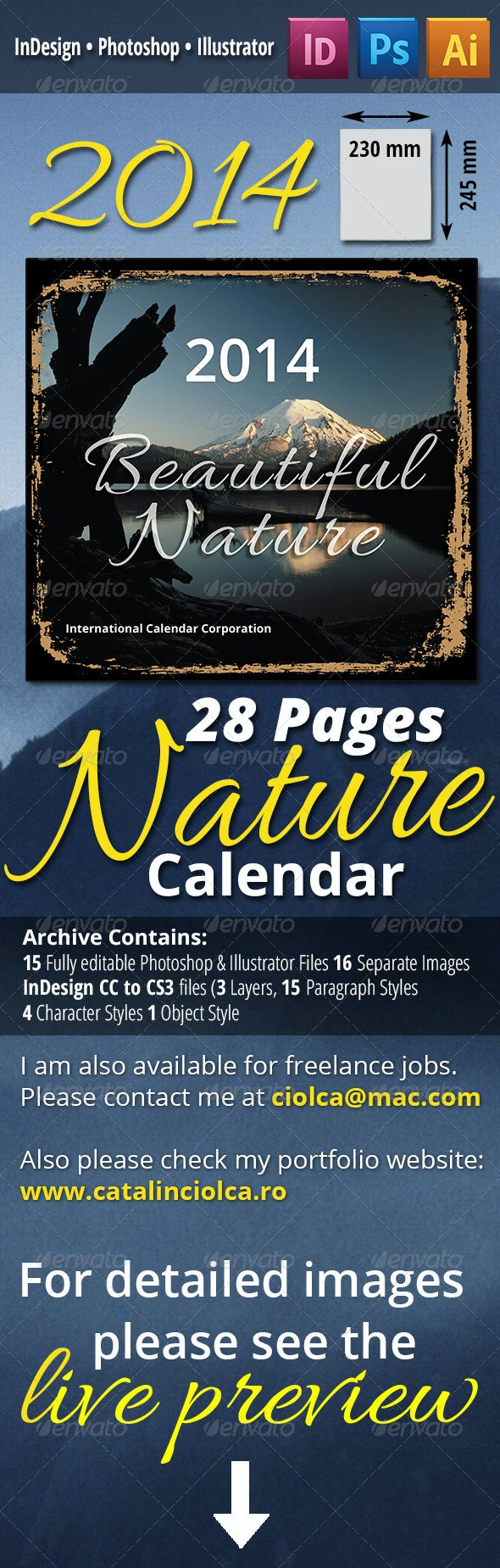 28 Pages 2014 Nature Calendar - Calendars Stationery