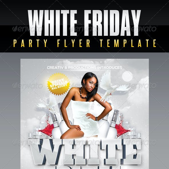 White Friday Party Flyer Template