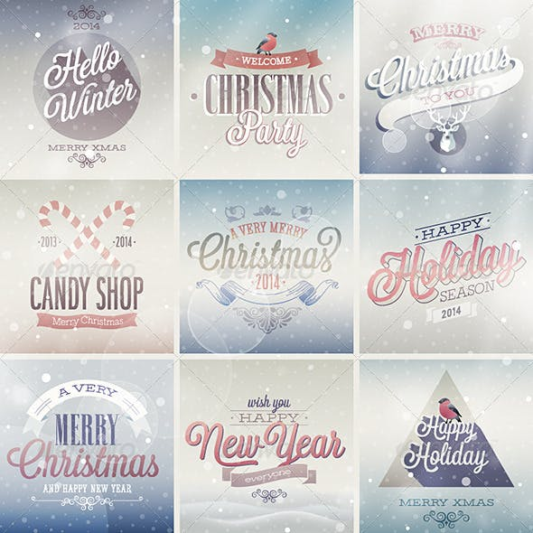 Christmas Set of Labels and Emblems
