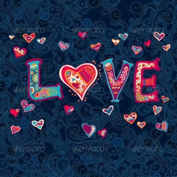 Word Love with Floral Ornament for your Design - Backgrounds Decorative
