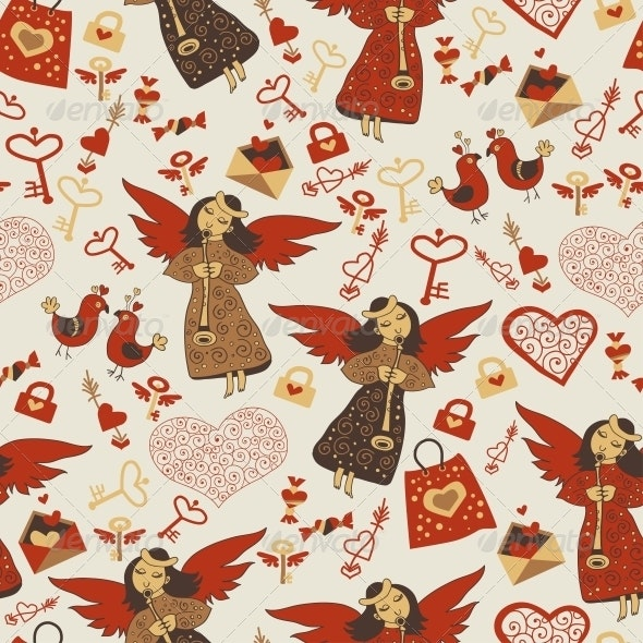 Valentine Wallpaper with Angels - Patterns Decorative