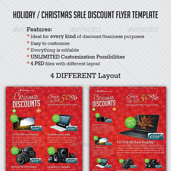 Holiday / Christmas Sale Discount Flyer template