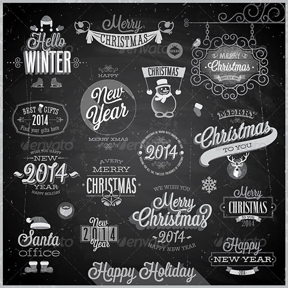 Christmas Set of Labels and Emblems on Chalkboard