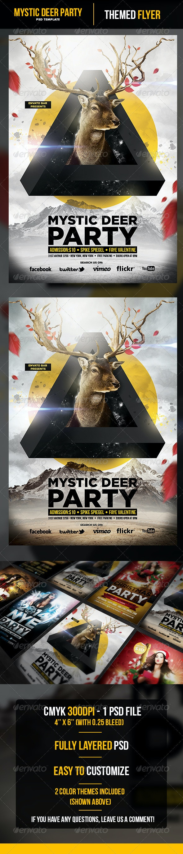 Mystic Deer Flyer Template - Flyers Print Templates