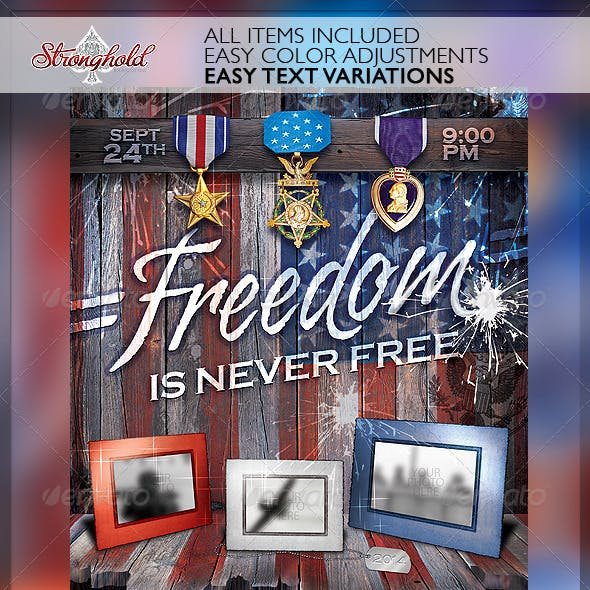 Freedom Memorial Holiday Flyer Template