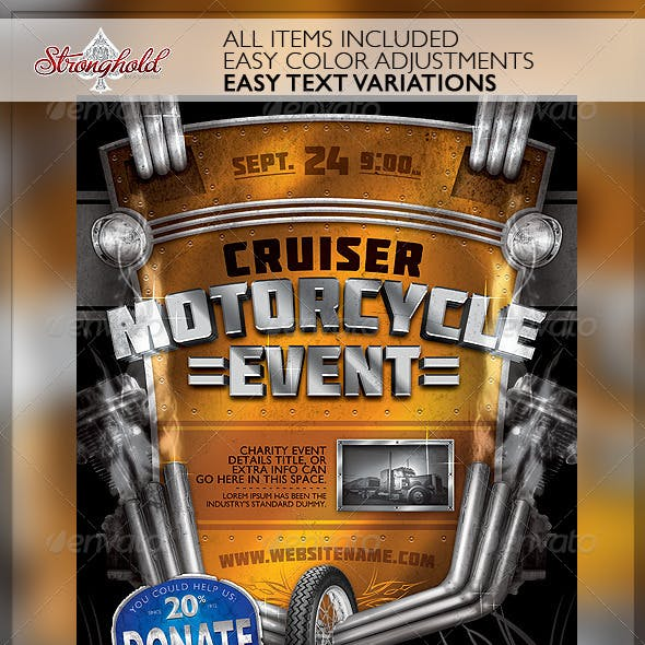 Vintage Motorcycle Event Flyer Template