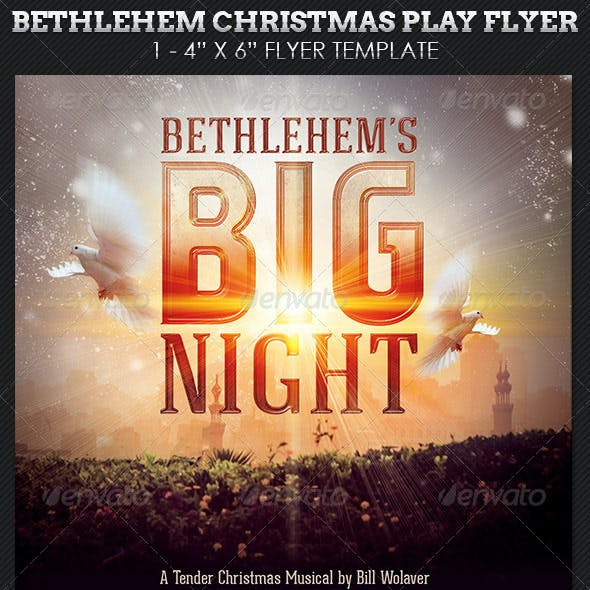 Bethlehem Christmas Play Church Flyer Template