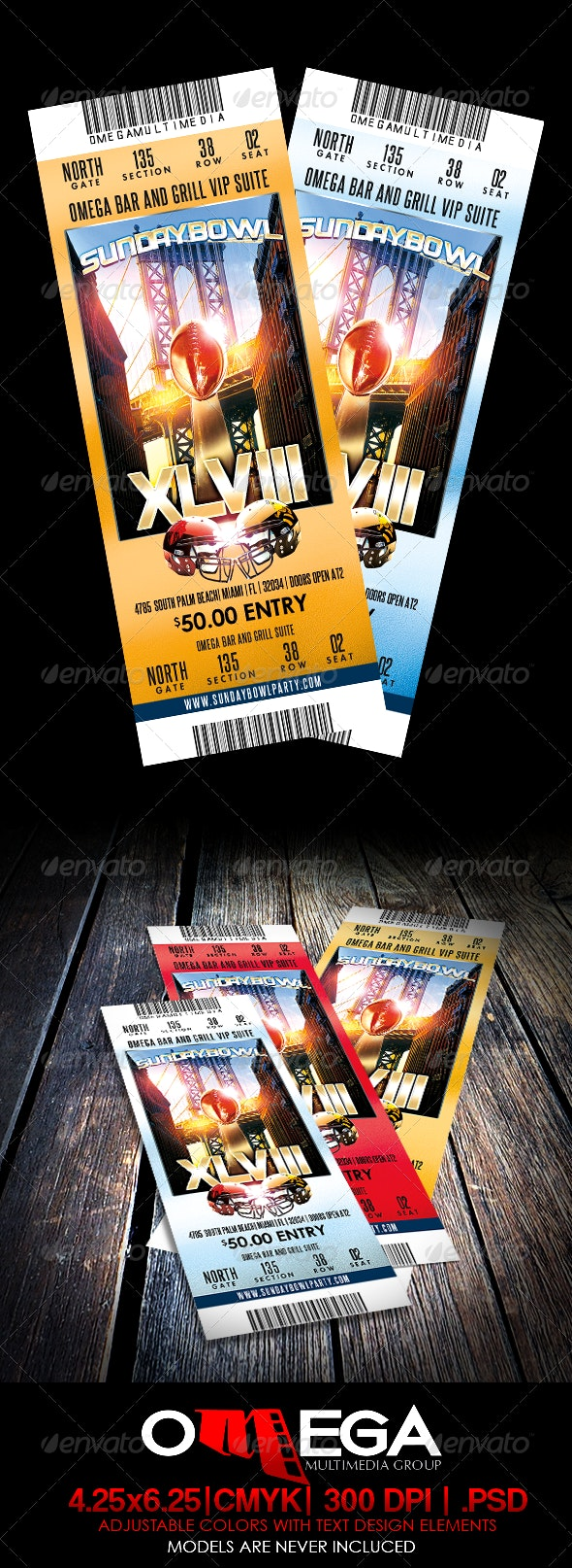 SundayBowl Flyer Ticket - Miscellaneous Print Templates