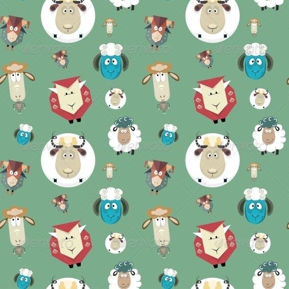 Seamless Pattern of Cartoon Funny Sheeps