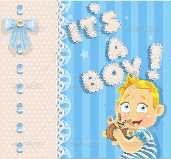 """""""It's a Boy"""" Blue Openwork Card - Birthdays Seasons/Holidays"""
