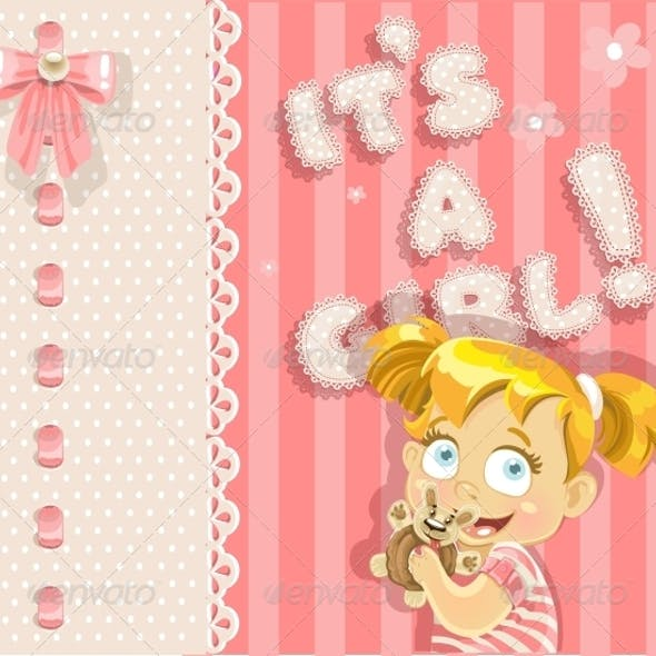 It's a Girl - Pink Announcement Card