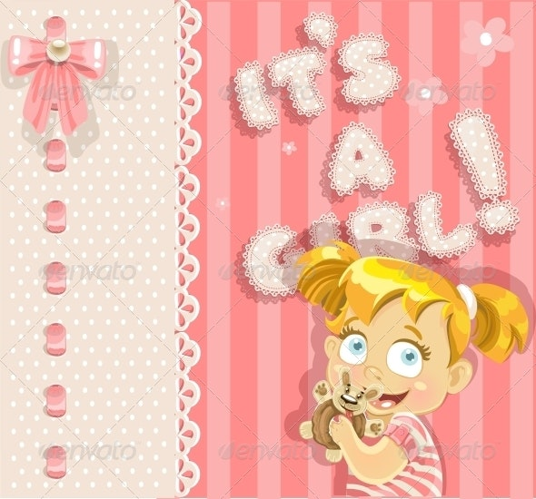 It's a Girl - Pink Announcement Card - Birthdays Seasons/Holidays