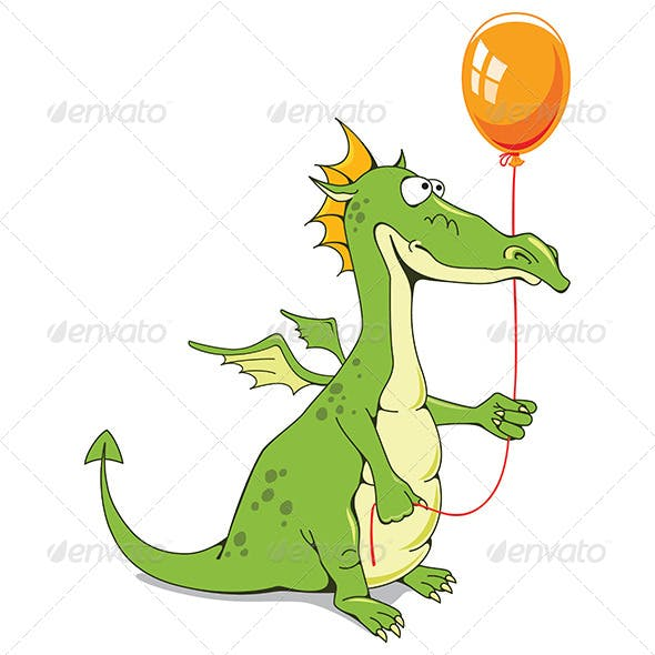 Funny Dragon with a Balloon