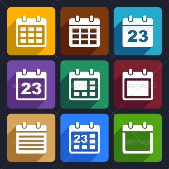 Calendar Flat Icons Set 21