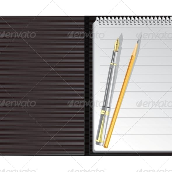 Open Black Striped Notebook with Pen and Pencil