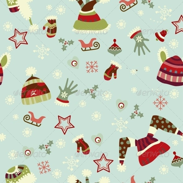 Mitten, Hats, Gloves, Seamless Pattern. - Patterns Decorative