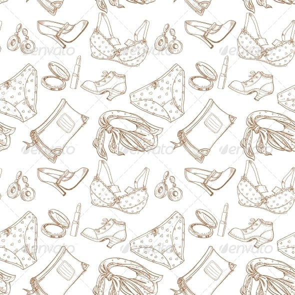 Seamless Pattern of Female Subjects Underwear