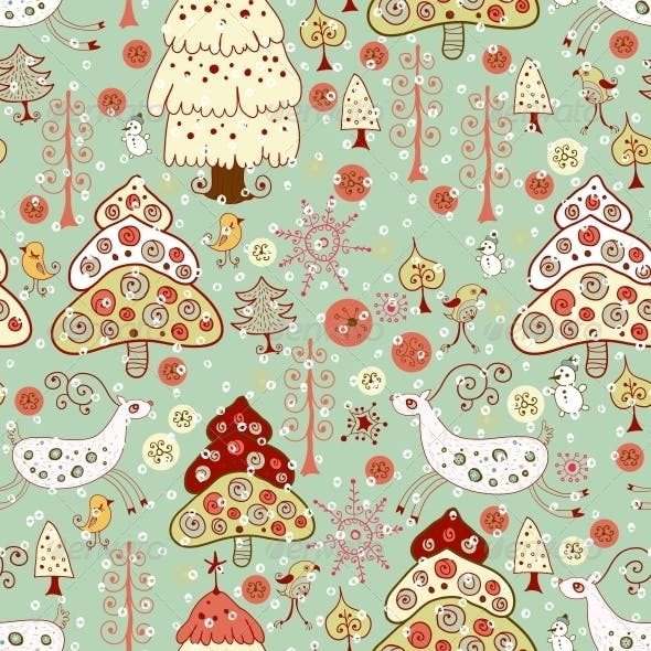 Winter Christmas Forest. Seamless Pattern