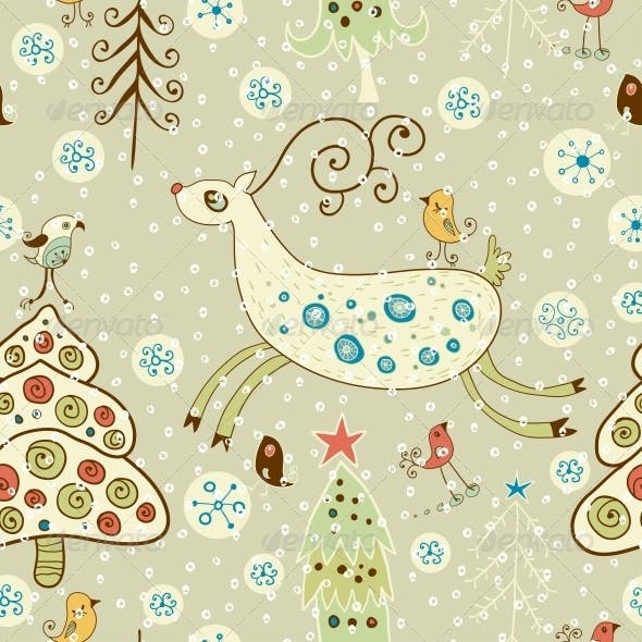 Christmas Pattern. Forest and Deer