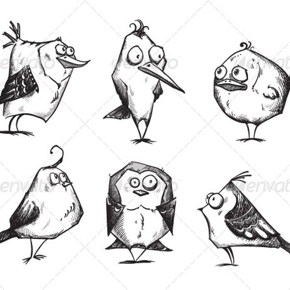 6 Cartoon Birds