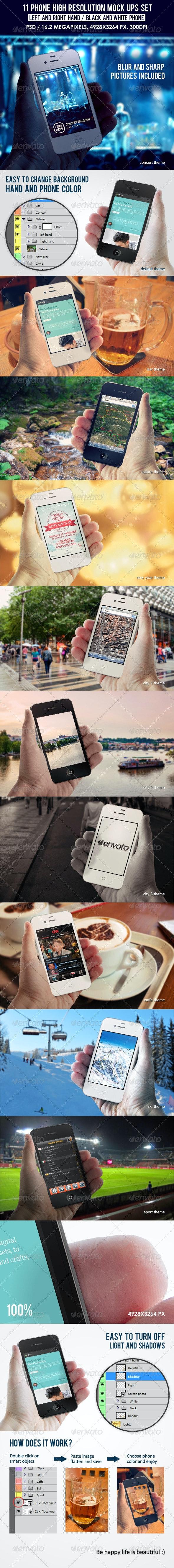 11 Phone High Resolution Mock Ups - Mobile Displays
