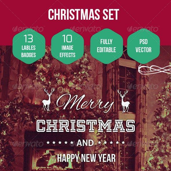 Christmas Labels / Badges / Logo set + Image FX
